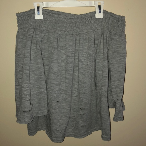 Honey Punch Tops - off the shoulder gray slitted shirt
